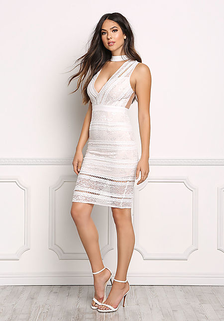 White Embroidered Lace Choker Dress