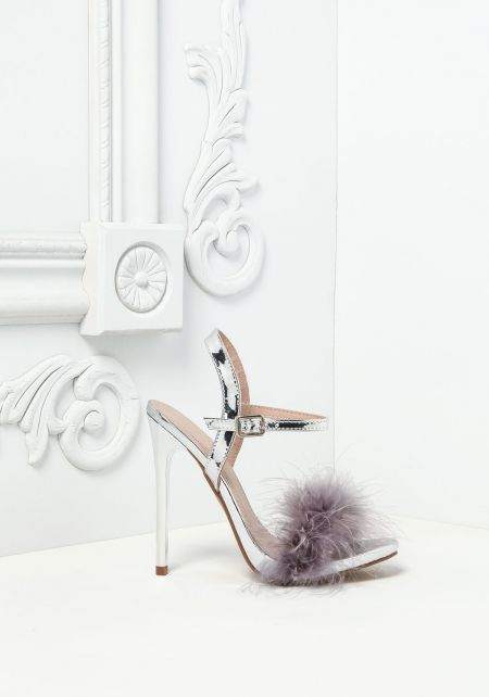 Silver Feather Fluff Heels