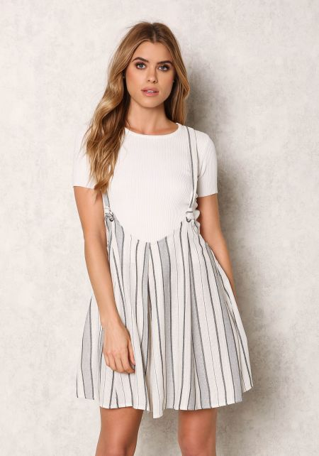 Ivory and Navy Linen Stripe Dress Overalls