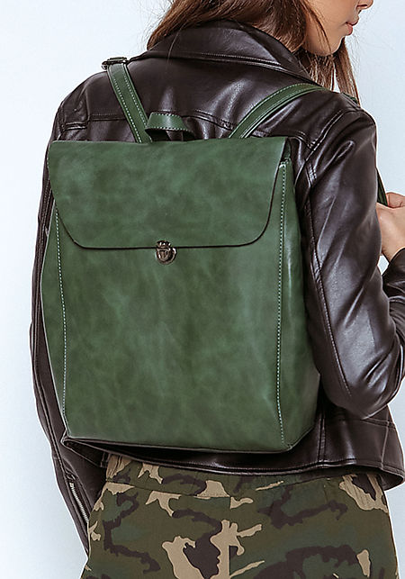Olive Leatherette Messenger Backpack