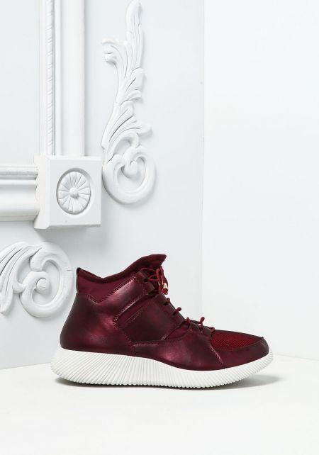 Burgundy Leatherette High Top Sneakers