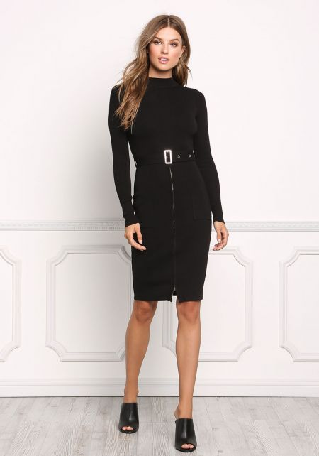 Black Ribbed Knit Belted Bodycon Dress