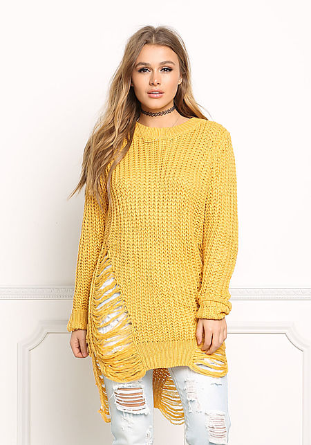 Mustard Frayed Chunky Knit Tunic Top