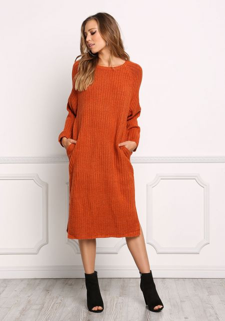 Rust Thick Ribbed Knit Midi Shift Dress