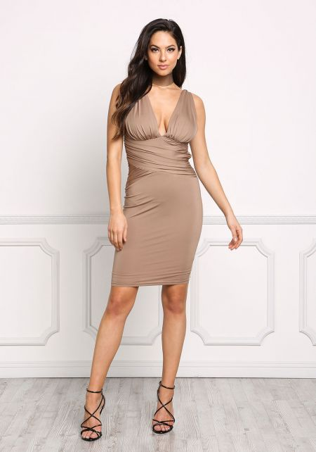 Mocha Plunge Ruched Cross Back Bodycon Dress