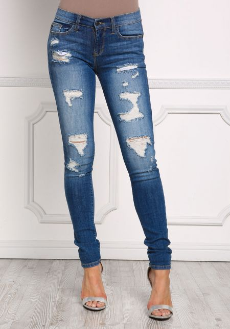 Denim Distressed Low Rise Skinny Jeans
