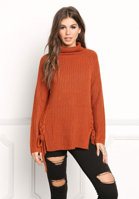 Rust Lace Up Sweater Top