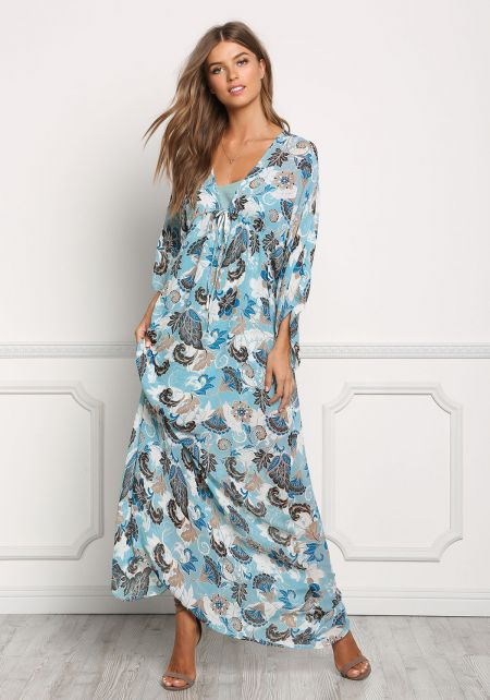 Dusty Blue Chiffon Floral Print Maxi Dress