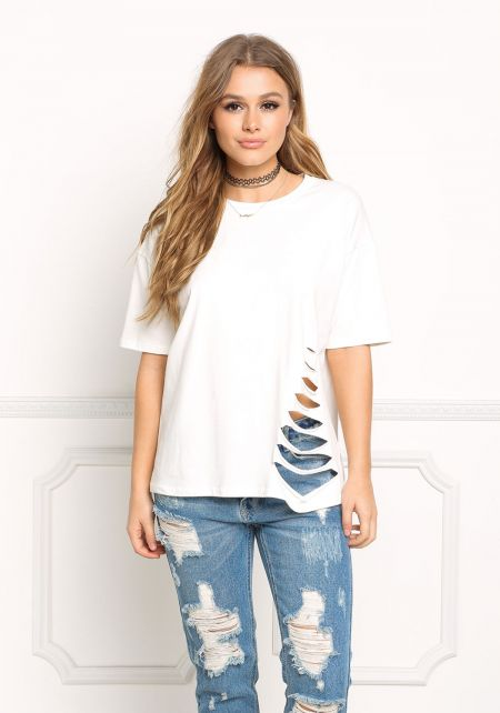 White Side Slash Tee