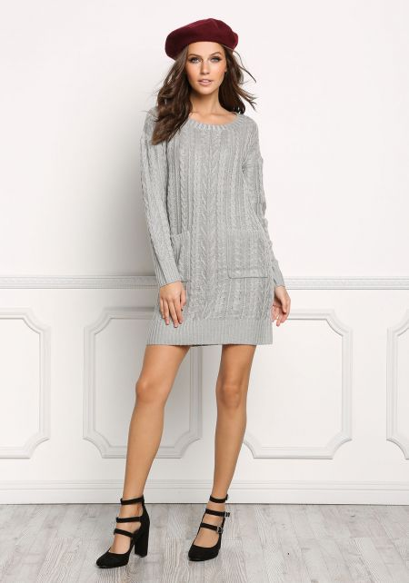 Heather Grey Cable Knit Pocket Shift Dress