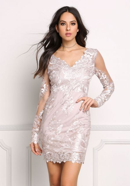 Mauve Tulle Embroidered Bodycon Dress