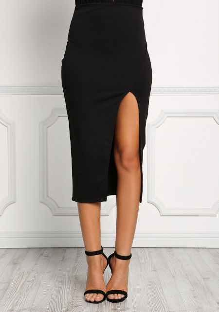 Black High Slit Pencil Skirt