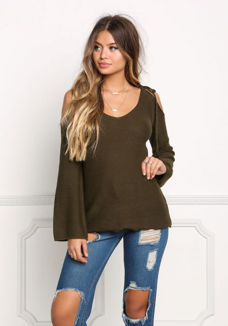 Olive Cold Shoulder Sweater Top