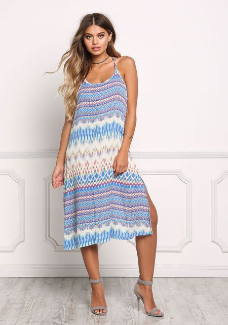 Multi Print Gauze Slit Midi Dress