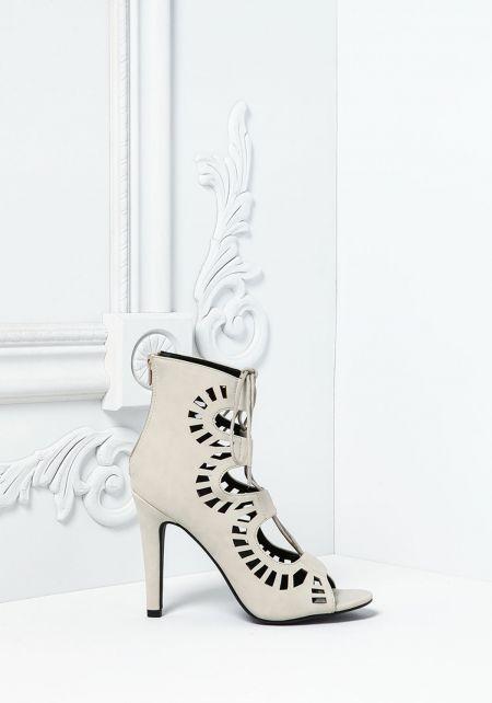 Silver Leatherette Laser Cut Open Toe Heels
