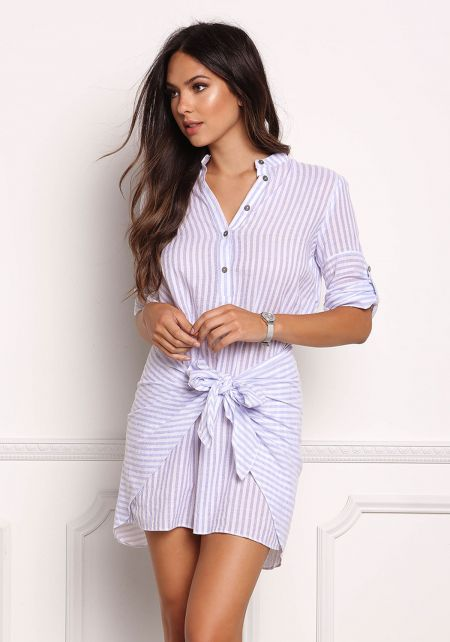 Blue Pinstripe Pointed Layered Dress