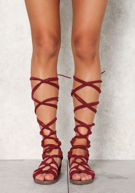 Wine Suedette Cut Out Lace Up Sandals