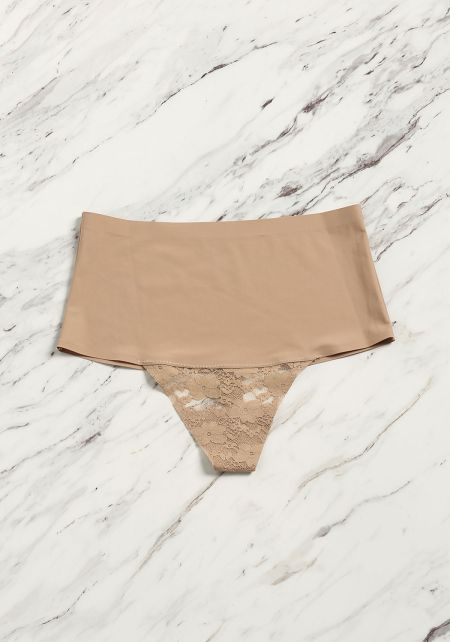 Taupe High Rise Lace Trim Thong
