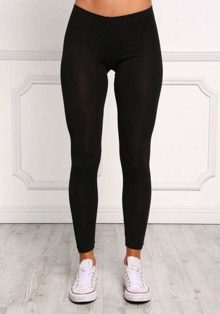 Black Mid Rise Jersey Knit Leggings