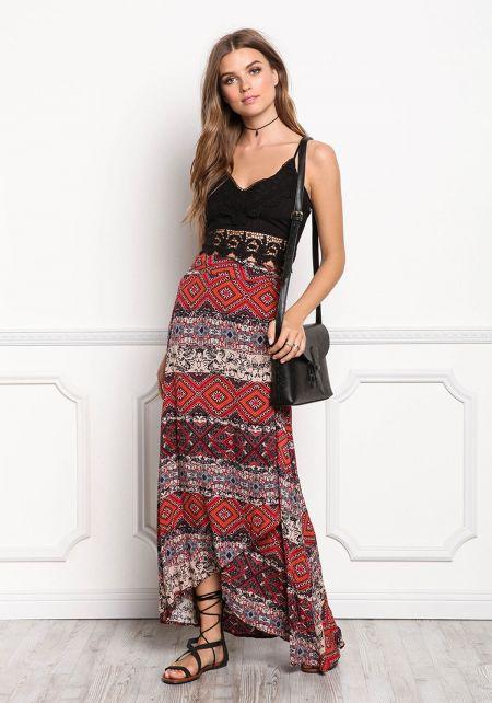 Rust Multi Print Wrap Maxi Skirt