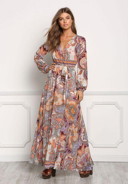 Multi Chiffon Printed Surplice Maxi Dress