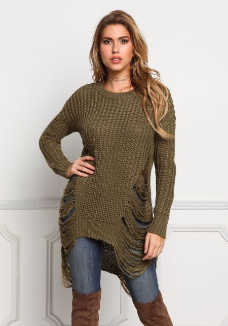 Olive Frayed Thick Sweater Top