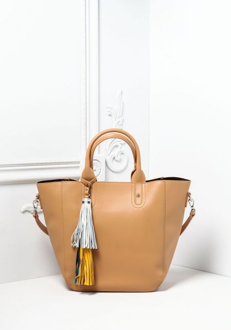 Taupe Large Leatherette Tassel Tote Bag