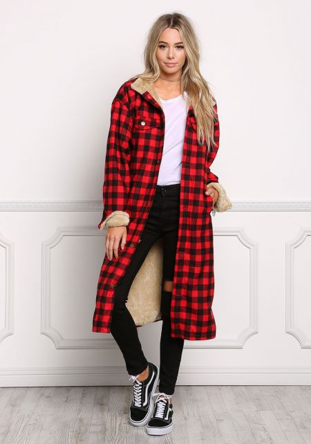 Red Faux Fur Gingham Longlined Jacket