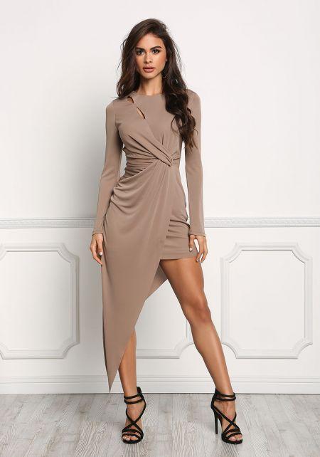 Mocha Twisted Asymmetrical Bodycon Dress