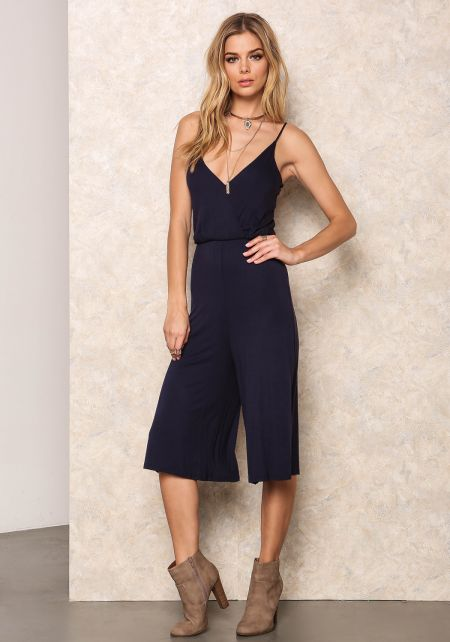 Navy Wrapped Halter Jersey Cropped Jumpsuit