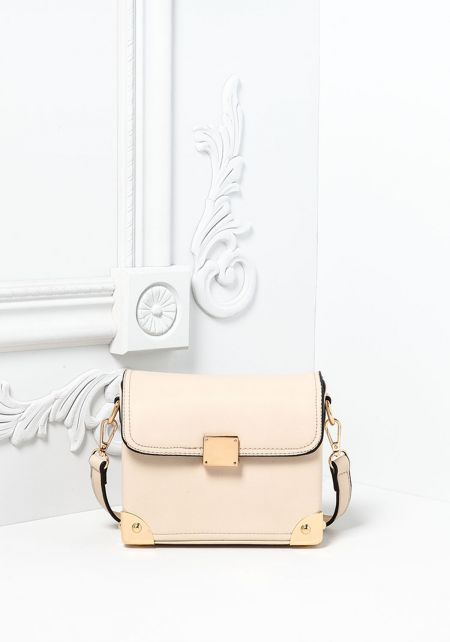 Beige Vegan Leatherette Square Crossbody Bag