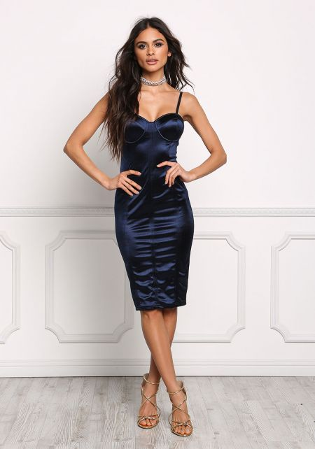 Navy Satin Bustier Bodycon Dress