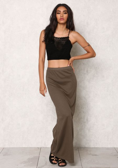 Olive Ribbed Knit Slit Maxi Skirt