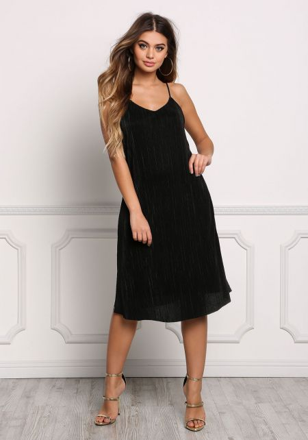 Black Pleated Shift Slip Dress