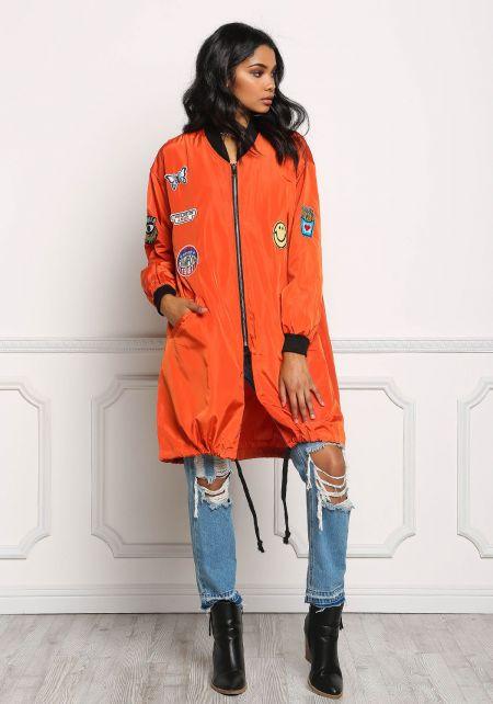 Orange Long Windbreaker Patch Bomber Jacket