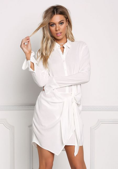 White Collared Tie Front Shift Dress