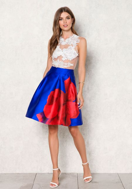 Royal Blue Taffeta Large Rose Flared Skirt