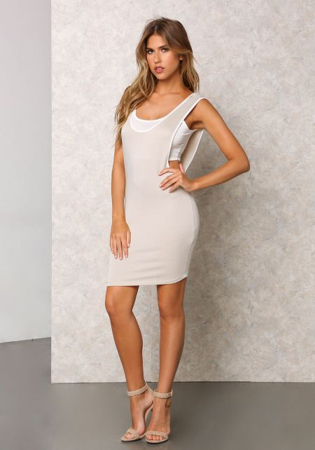 Taupe Jersey Knit Two Piece Dress