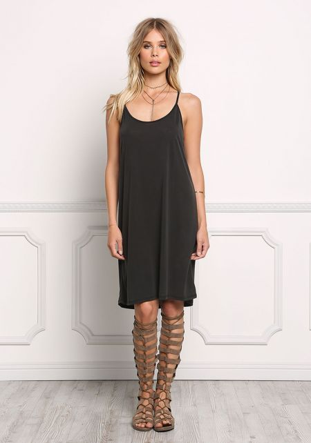 Black Jersey Knit Cami Racerback Shift Dress