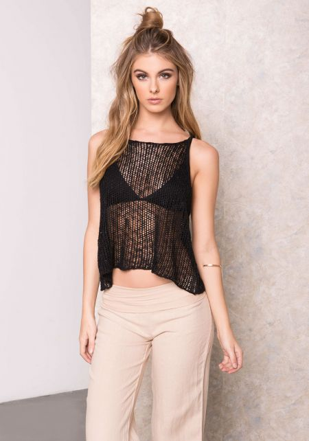 Black Mesh Knit Cami Top