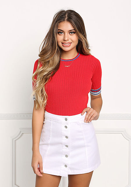 Red Stripe Outlined Ribbed Knit Tee
