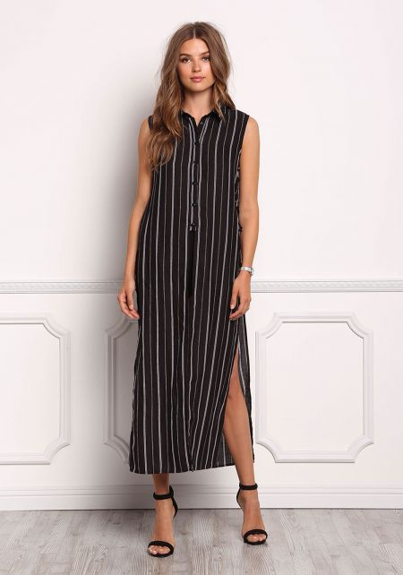 Black Pinstripe Slit Lace Up Maxi Top