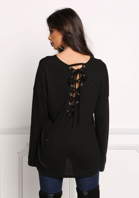 Black Back Lace Up Ribbed Knit Top