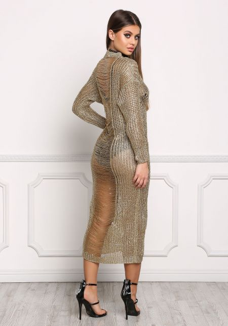 Gold Metallic Knit Frayed Back Maxi Dress