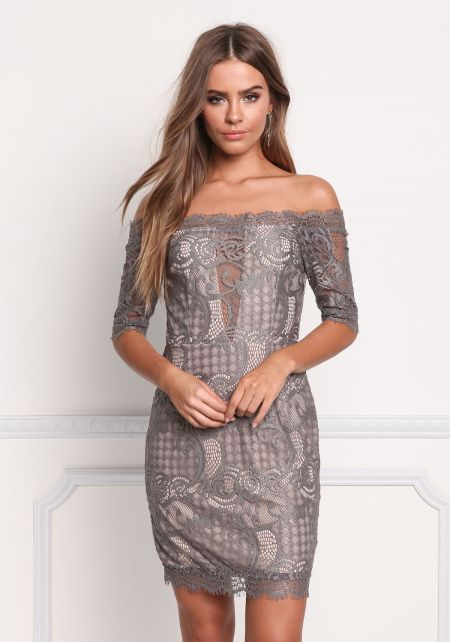 Dark Grey Lace Off Shoulder Scallop Dress