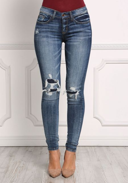Dark Denim Distressed Patched Skinny Jeans