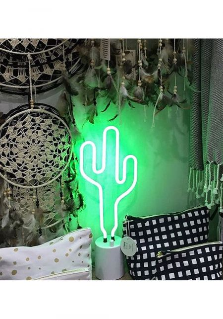 Green Large Cactus Neon Light