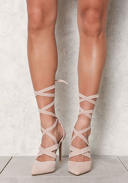 Nude Suedette Lace Up Pointed Toe Heels