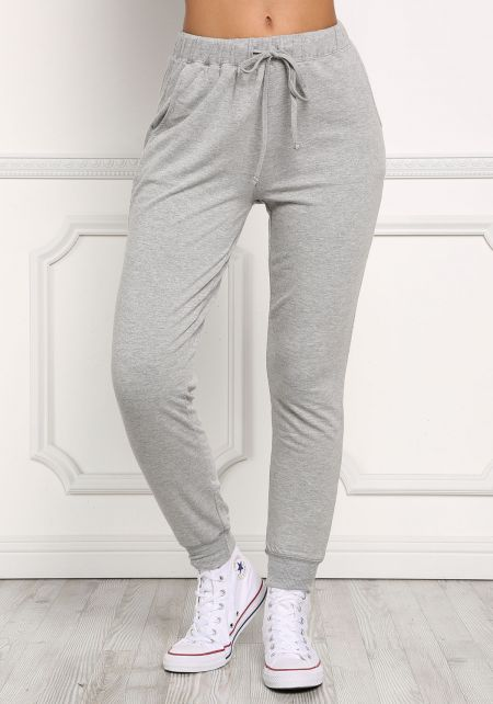 Heather Grey Solid Jogger Pants
