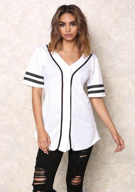 White Flawless Baseball Jersey Top